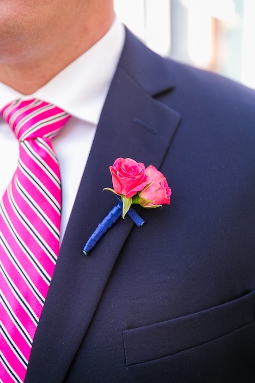 Groom's tie by Ralph Lauren. Boutonniere by A Charleston Bride. Groom's suit by Calvin Klein. Image by Dana Cubbage Weddings.