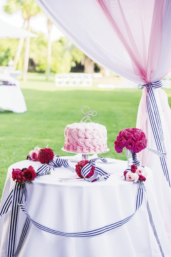 "SO SWEET: Dressing the cake table with bridesmaid bouquets is a traditional idea, but how about using flower girl kissing balls and posies, too? Here, a pink ombré treat from Ashley Bakery gets just that treatment. To play up the palette further, ribbon was draped as swag and used as curtain tie-backs. ""I loved the feminine pink combined with the crisp navy and white stripe,"" says Ashley."