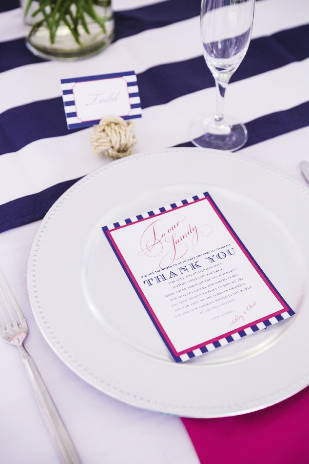 TIED UP: Place cards tucked into nautical knots marked guest seats, where heartfelt thank-you notes from the couple awaited.