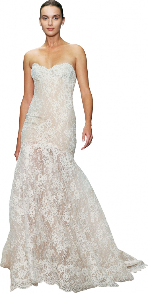 "{Timeless Trend} Scalloped Lace Hemline; gown: ""Farren"" by Monique Lhuillier; Maddison Row"