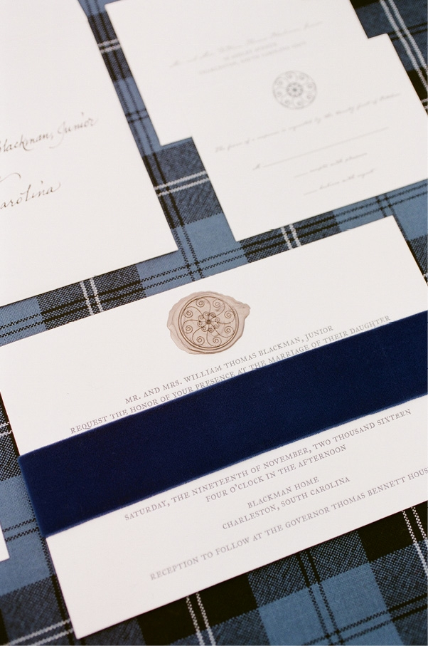 Rebecca, who heads a marketing firm, designed the invitation suite, which included a wax seal that mimics the ironwork on the piazza at her family home.