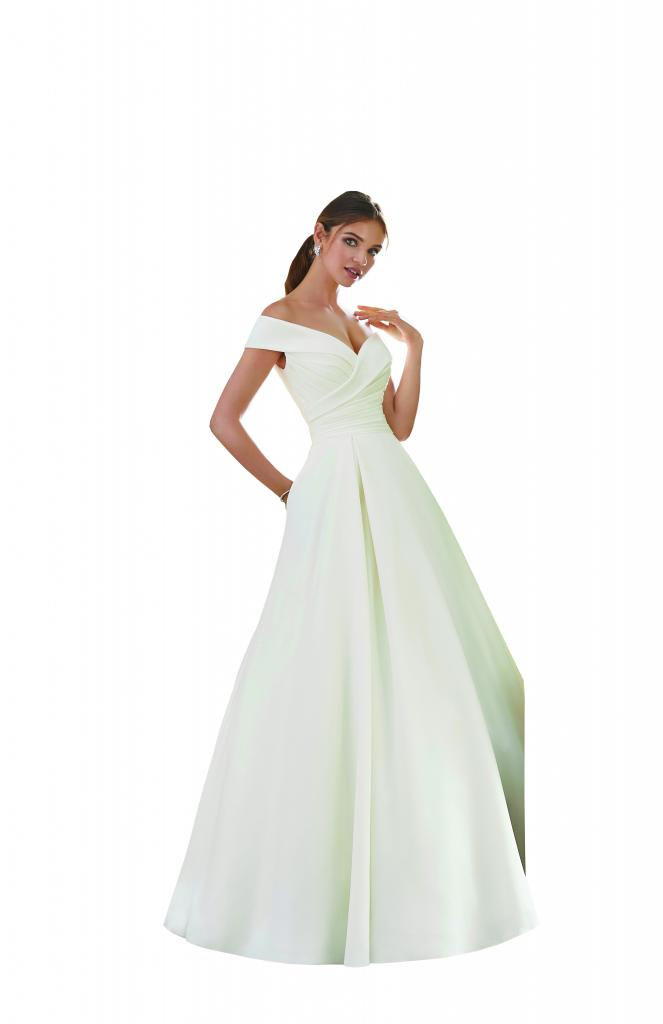 "Best for Ballrooms: Morilee by Madeline Gardner's ""Providence."" Why It Works: ""An elegant and timeless silhouette pairs nicely with a ballroom venue."" —Blake Devereux, Jean's Bridal"