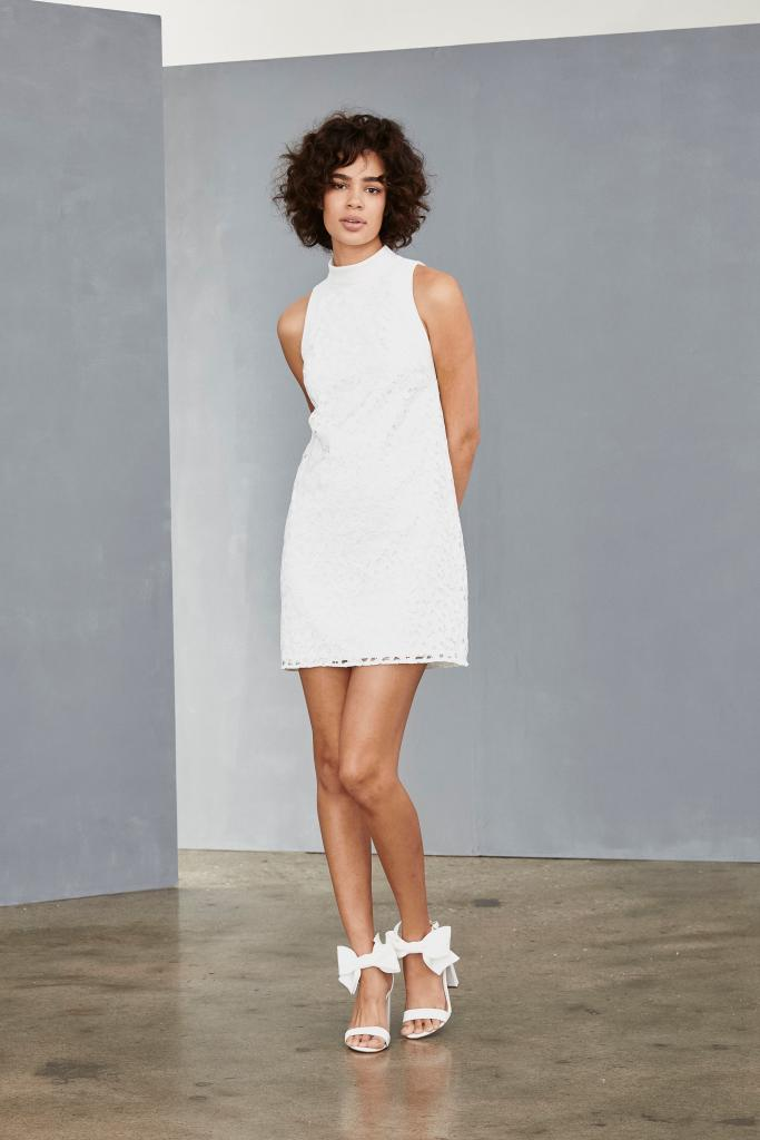 "Best for a Reception Exit: Any of Amsale's Little White Dresses (pictured: LW133 High Neck Shift). Why It Works: ""Amsale's LWD collection is all about fun, flirty styles. Any one of them are great for departing on the back of a motorcycle or dancing the night away at your after-party!"" —Michelle Miller, Maddison Row South"
