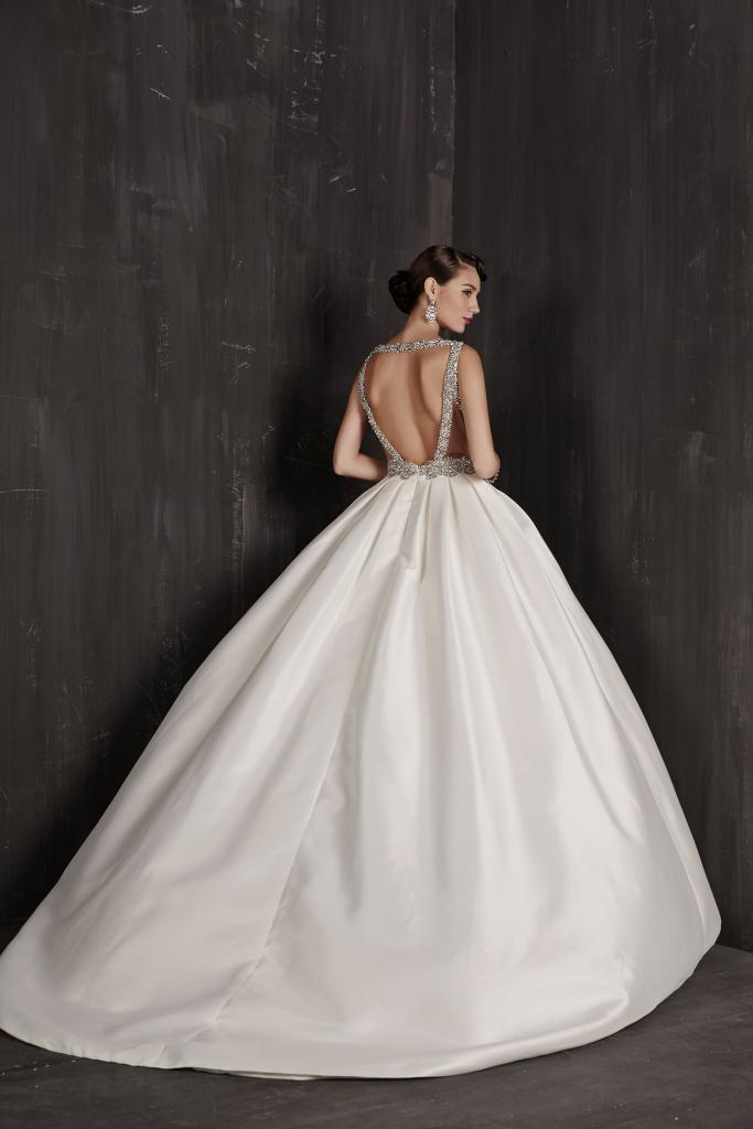 "Best for Ballrooms: Calla Blanche's ""Paulette.""  Why It Works: ""This gown will really light up under chandeliers."" —Jessica Kiss, Veritá. A Bridal Boutique"