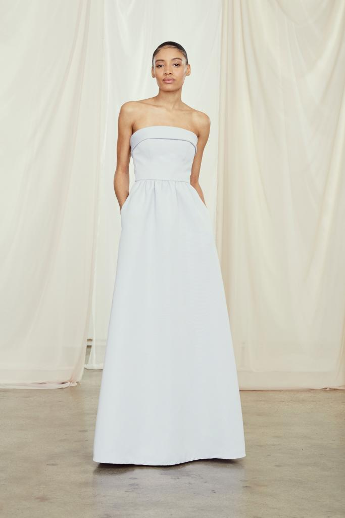 "Best for Ballrooms: Amsale's ""Rene."" Why It Works: ""It's crisp and sophisticated, and will look good on all bridesmaids as they dance the night away."" —Alex Moring, Bella Bridesmaids"