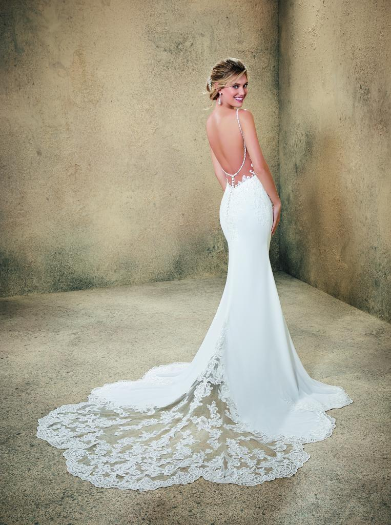 "Best for Summer: Morilee by Madeline Gardner's ""Rasia."" Why It Works: ""Rasia's a super dress for summer because of its lightweight fabric and its spaghetti straps that dip into a low back."" —Blake Deveraux, Jean's Bridal"