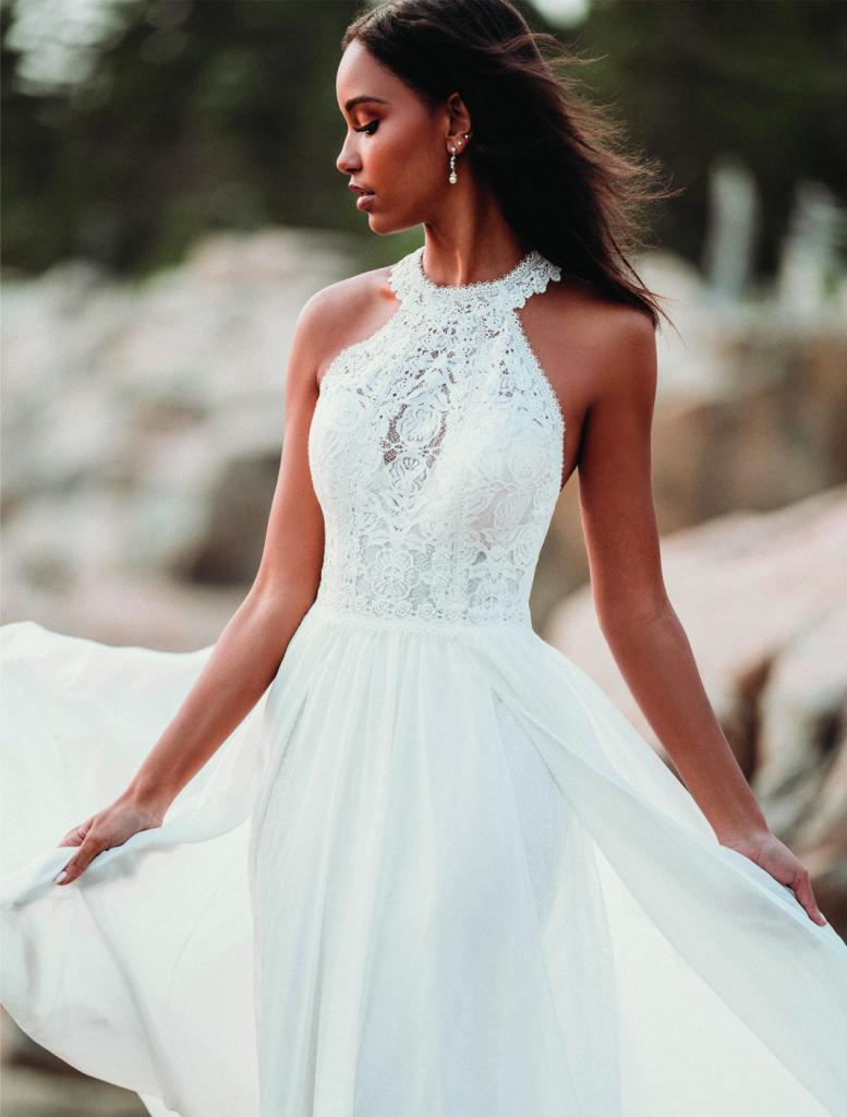 "Best for Beach Brides: Allure Romance's Style 3205. Why It Works: ""The crochet lace bodice and chiffon skirt give this dress a more casual and flowy look that's ideal for the beach."" —Blake Deveraux, Jean's Bridal"
