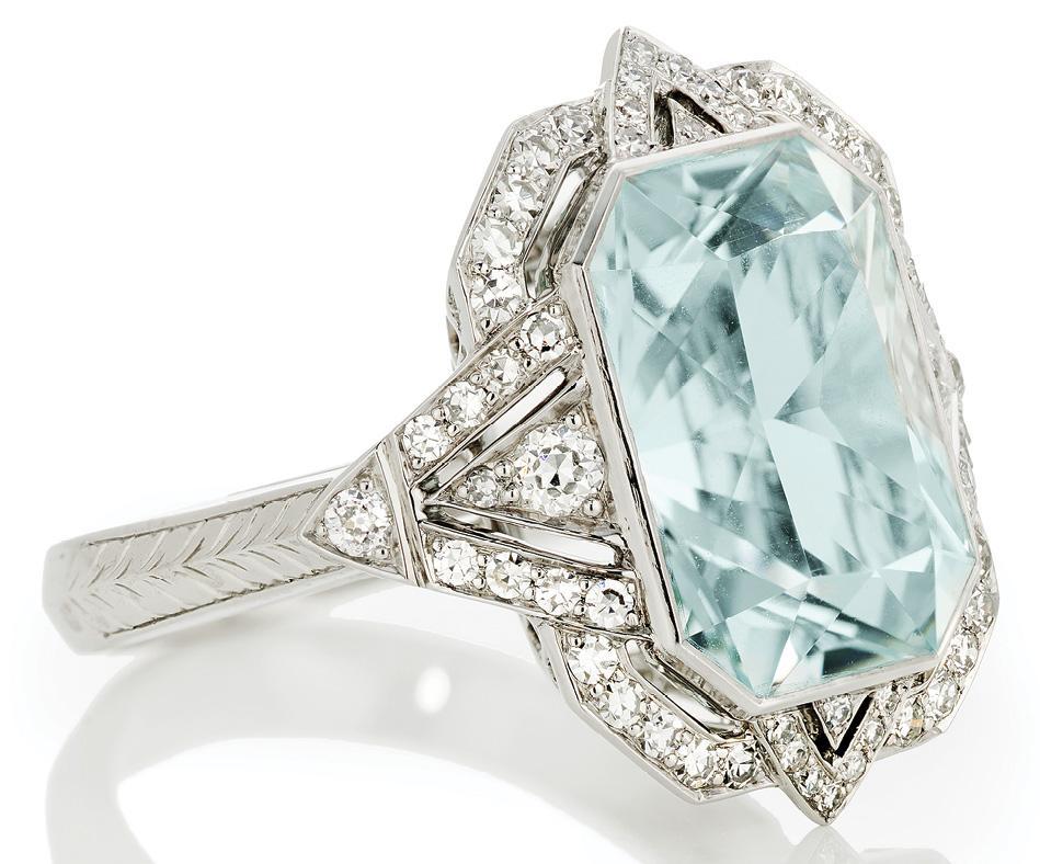 Aquamarine and diamonds (6.39 total cts.) set in platinum by Kiersten Elizabeth Fine Jewelry ($8,000)