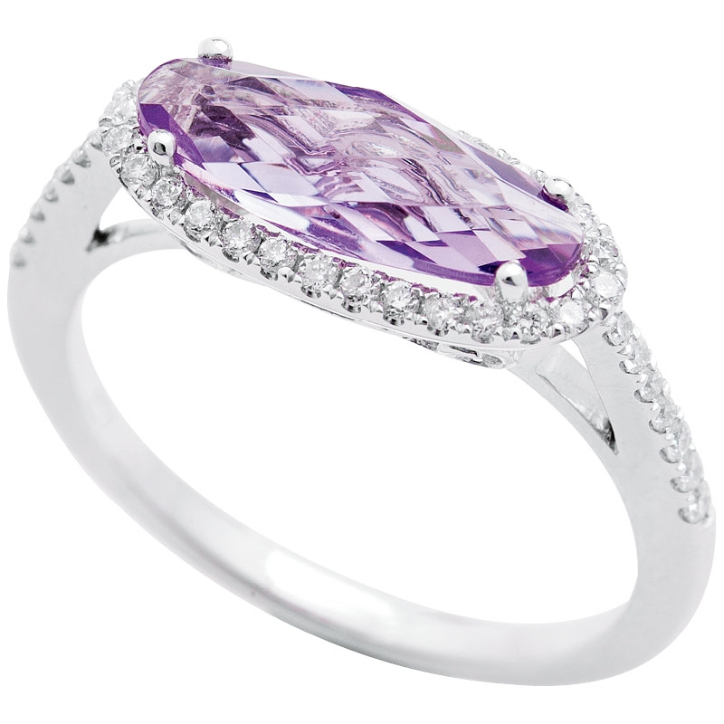 14K white gold ring with 1.3 ct. amethyst center and accent diamonds (.25 cts.) from Kiawah Fine Jewelry (price upon request)