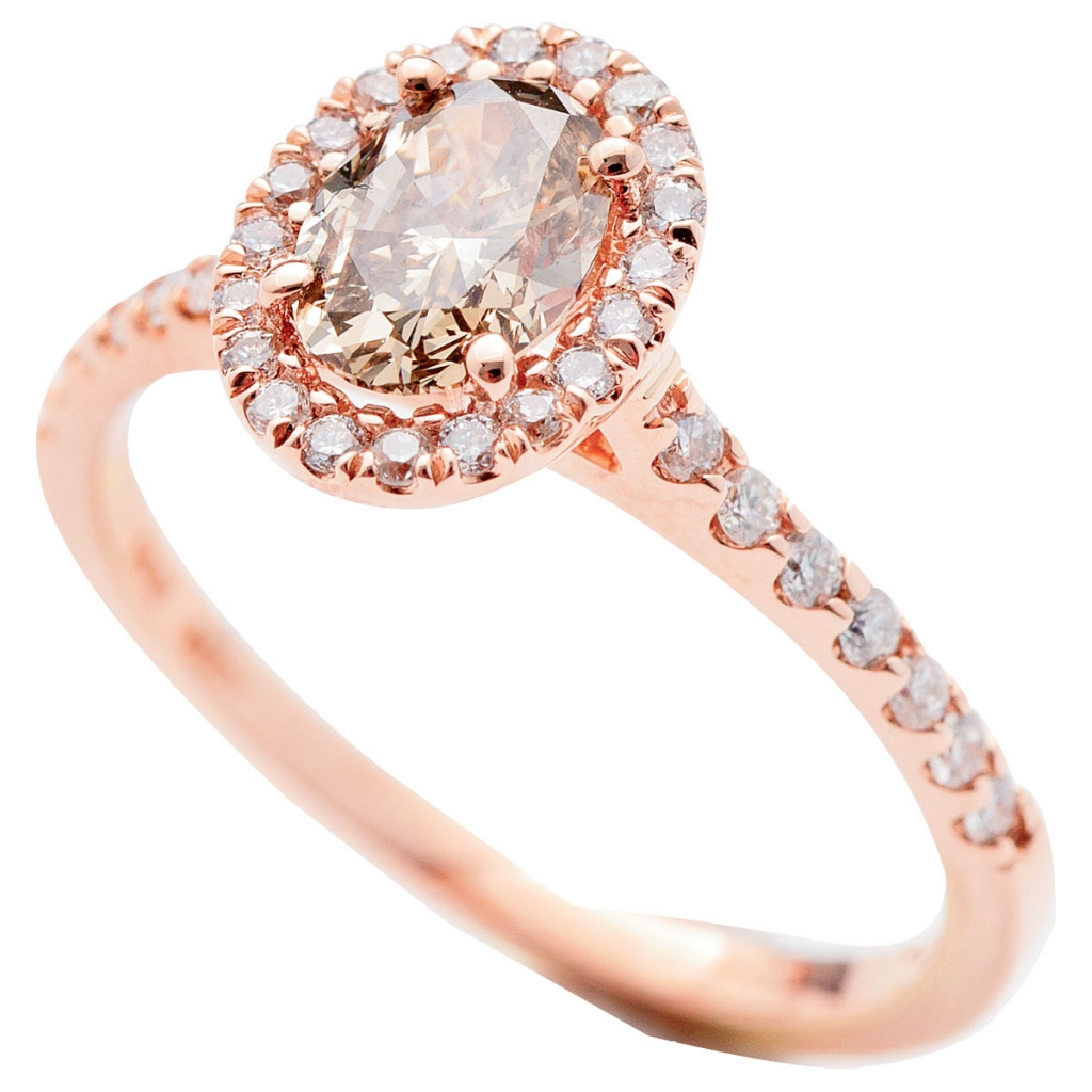 14K rose gold ring with .75 ct. champagne-colored diamond center and accent diamonds (.875 total cts.) from REEDS Jewelers ($3,195)