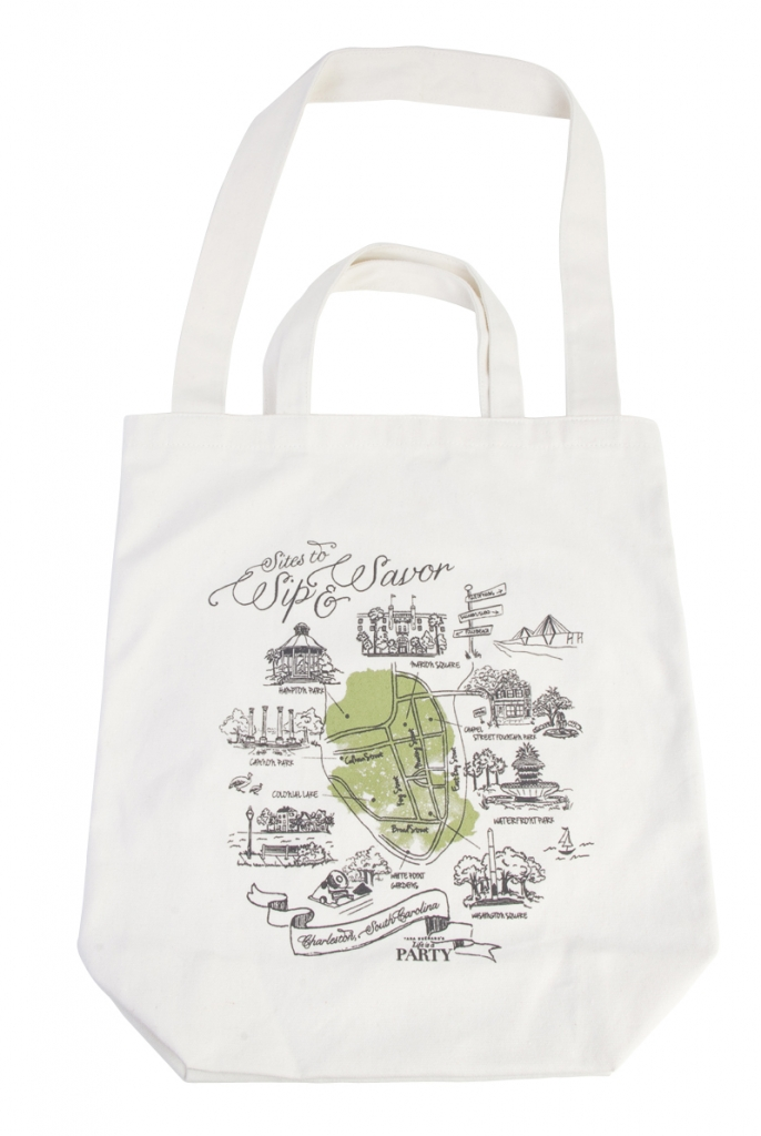 "CHARLESTON'S FINEST: Tara Guérard's Life is a Party ""Sites to Sip & Savor"" tote from Lettered Olive"