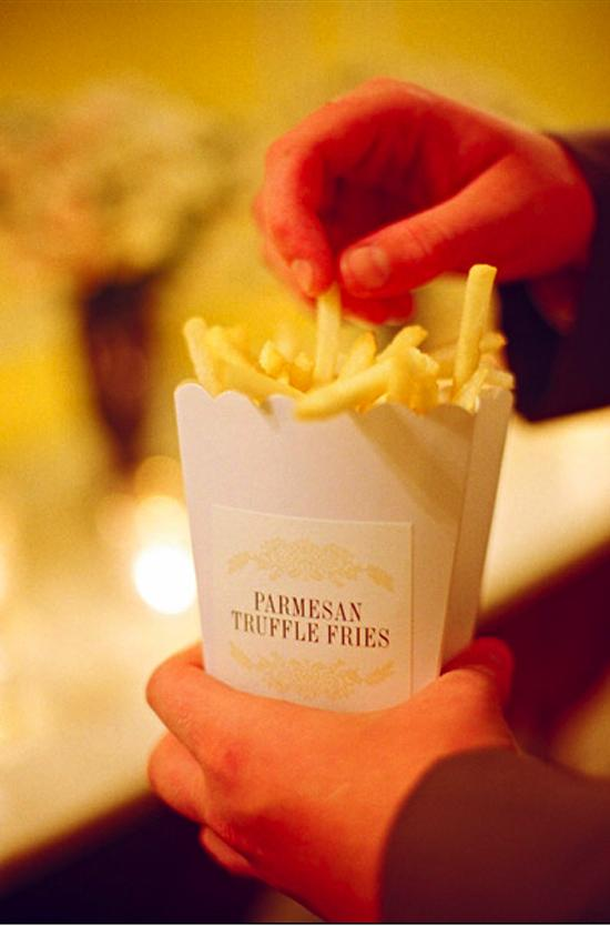 "A YUMMY TIP: Tara packed to-go boxes with food from the reception, including late night treats like the truffle fries, for the couple. ""I would definitely recommend that everyone does that!"" says Ashley."