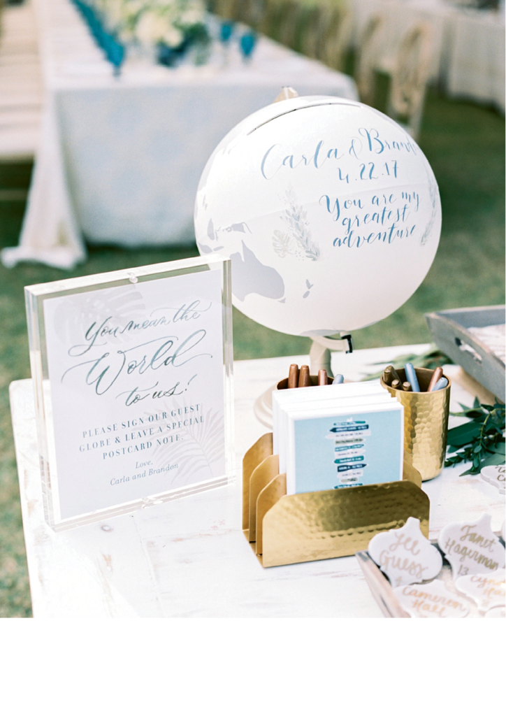 """The couple enlisted artist Amber Rosenberg of Newly Scripted to create a guest sign-in globe that incorporated their wedding colors and the fonts from both their invitation suite and reception signage. """"We now have it in our living room to look at every day and reminisce on the great journey it was,"""" says Carla."""
