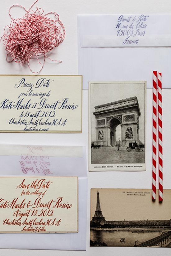 "CULTURAL INTRODUCTION: ""We glued a card with our save-the-date information on the back of vintage Parisian postcards and mailed them in velum envelopes,"" says Kate. ""That way so the postcard showed through just enough to give a hint of what was inside."""