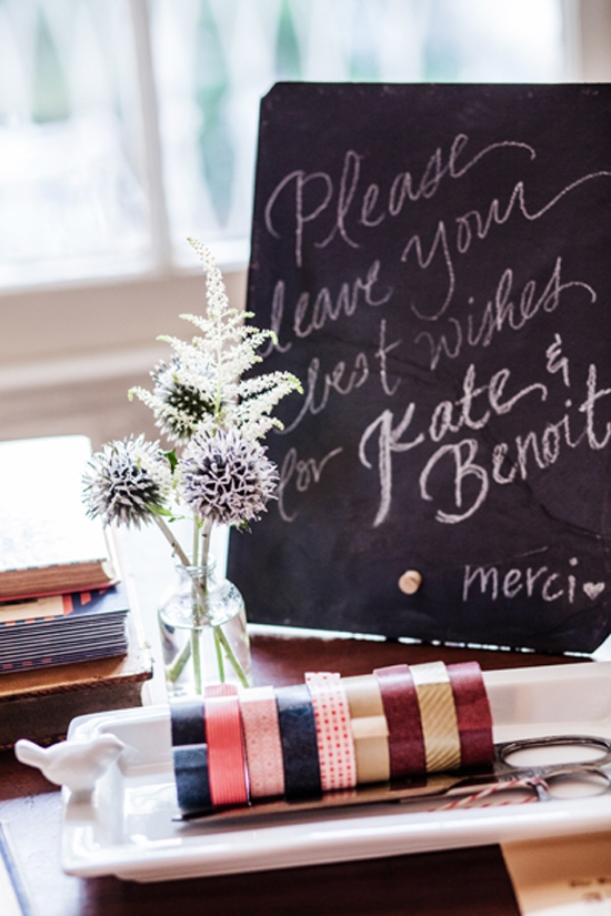 "BEST WISHES: ""Our guest book was an old French-English dictionary that we had for people to sign where they could attach little cards with messages using red and navy Washi tape,"" says Kate."