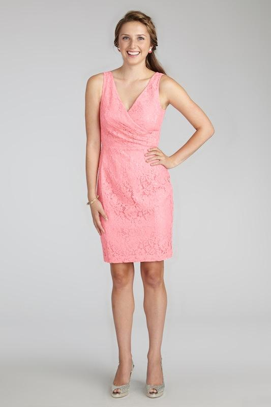"""Donna Morgan's """"Lulu"""" in Cherry Blossom. Available in Charleston through Bella Bridesmaids."""