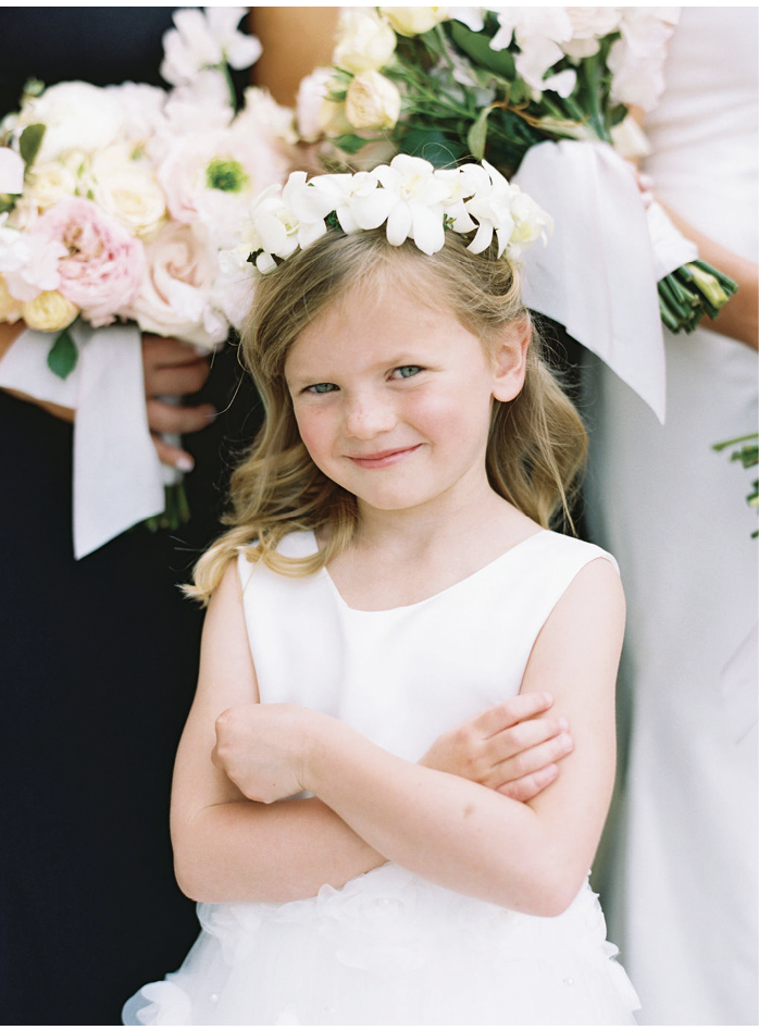 The flower girl wore a crown of gardenia