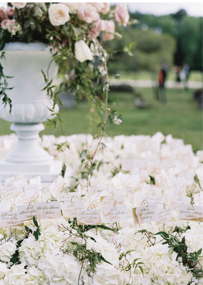 Table assignments grew from a tabletop sea of hydrangea blooms