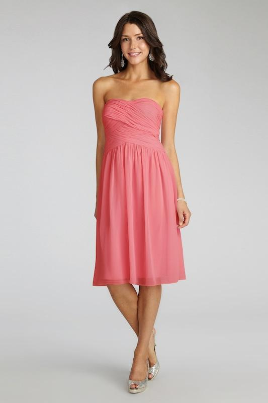 """Donna Morgan's """"Anne"""" in Coral. Available in Charleston through Bella Bridesmaids."""