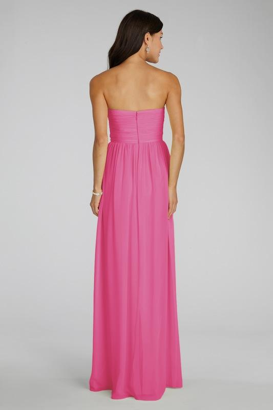 """Donna Morgan's """"Laura"""" in Strawberry. Available in Charleston through Bella Bridesmaids."""