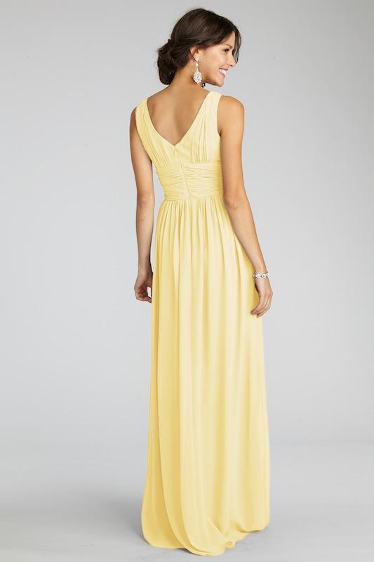 "Donna Morgan's ""Julie"" in Lemon. Available in Charleston through Bella Bridesmaids."