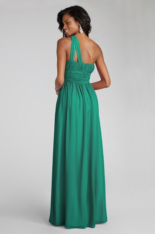 "Donna Morgan's ""Rachel"" in Emerald. Available in Charleston through Bella Bridesmaids."