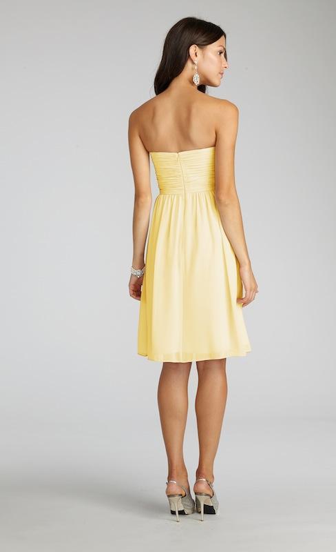 "Donna Morgan's ""Sarah"" in Lemon. Available in Charleston through Bella Bridesmaids."