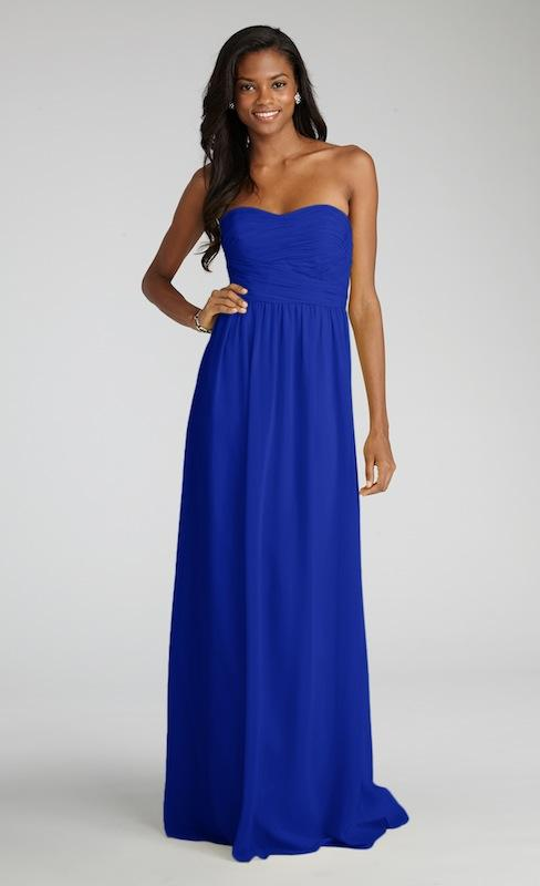 """Donna Morgan's """"Stephanie"""" in Royal. Available in Charleston through Bella Bridesmaids."""