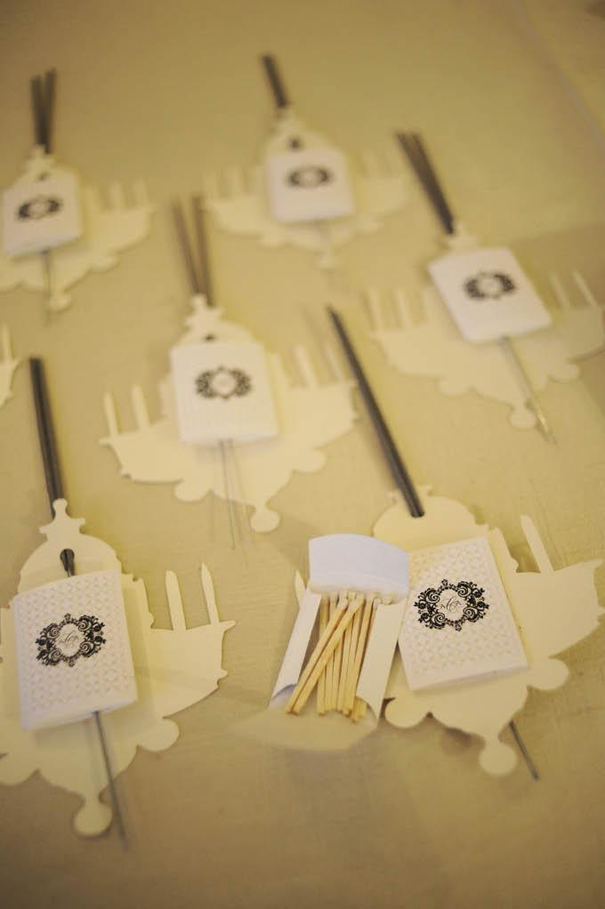 BRIGHT IDEA: Chandelier-shaped cards bound a monogrammed matchbook and set of sparklers together for the couple's end-of-evening send-off.