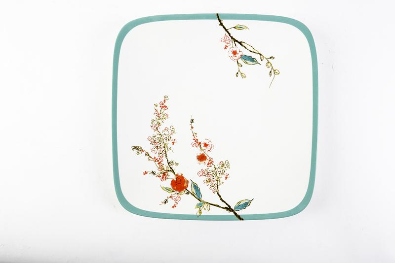 "Lenox's ""Chirp"" Square Dinner Plate. Bone-china sporting Asian influences like delicate blooming branches and birds in bold teal and reds, this squared plate pairs well with round samples. Belk, $42 (10.25-inch plate)"