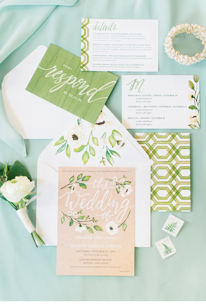 To keep the stationery budget in check, the couple opted for a customized invitation suite from the e-stationer Wedding Paper Divas.  <i>Image Aaron & Jillian Photography</i>