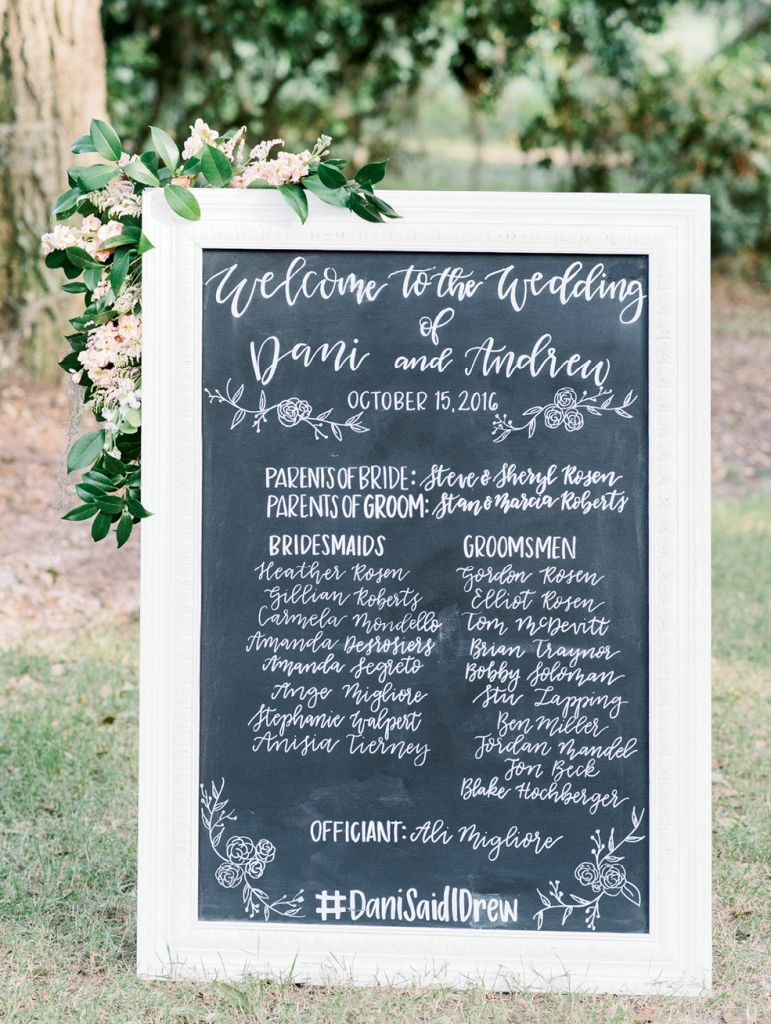 A board with a who's-who of the wedding party oriented family friends and plus-ones (and check out their perfect hashtag—#DaniSaidIDrew!).  <i>Image Aaron & Jillian Photography</i>