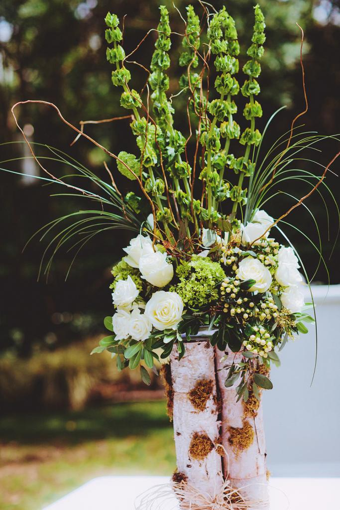 "NATURAL BEAUTY: ""We went simple—white with green accents,"" says Allison of the florals."
