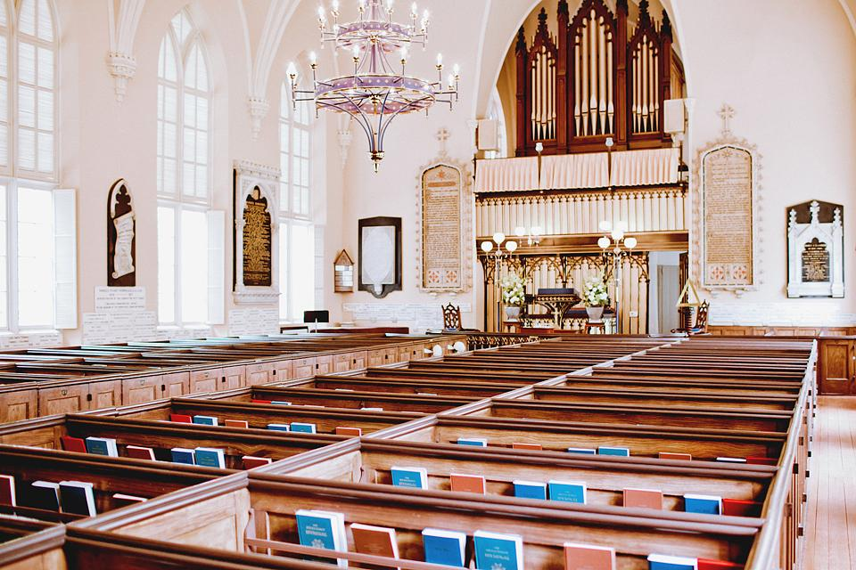 A BIT OF HISTORY: The couple exchanged vows at The French Protestant (Huguenot) Church in the French Quarter—Charleston's oldest Gothic Revival building and a National Historic Landmark.