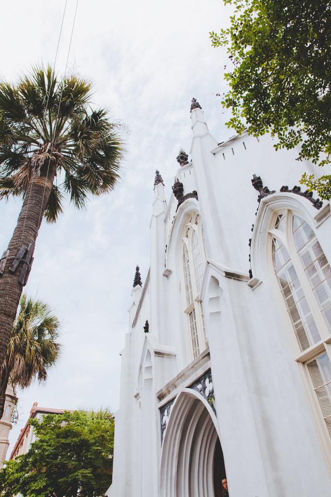 MAY DAY: It was a beautiful spring day for the couple's downtown nuptials at The French Protestant (Huguenot) Church.