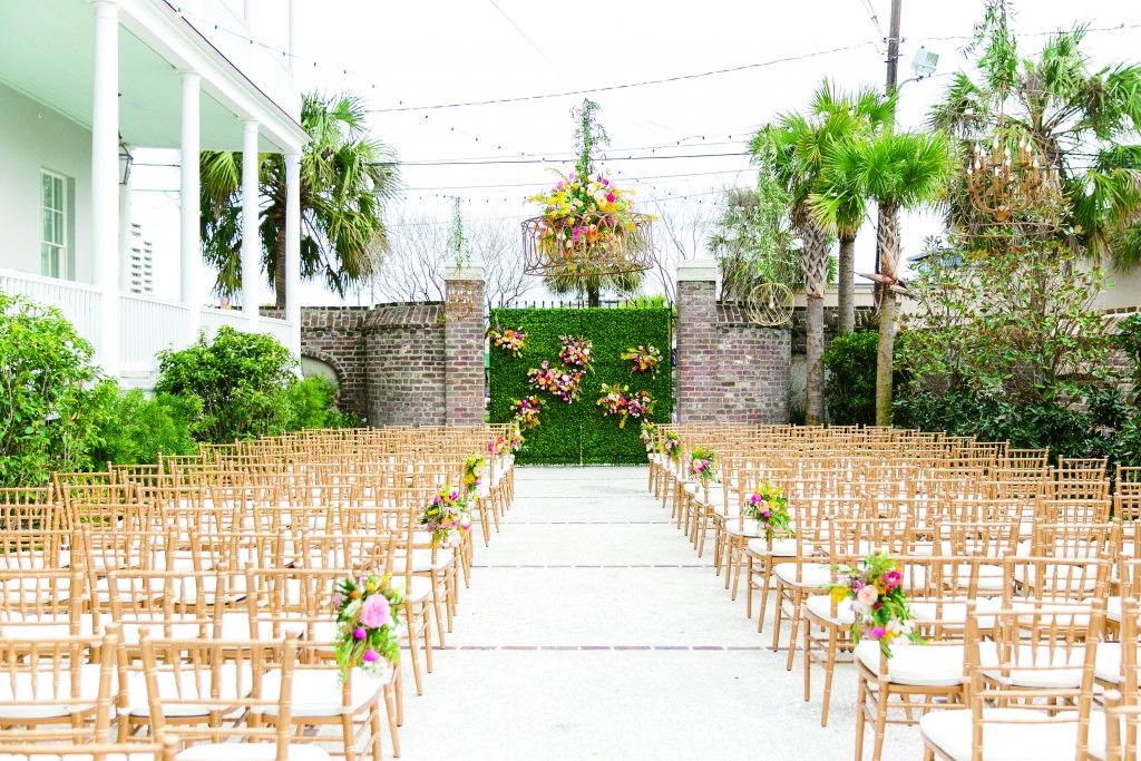 Wedding design by ELM Events. Florals by Branch Design Studio. Lighting and chairs from EventHaus. Photograph by Dana Cubbage Weddings at the Gadsden House.