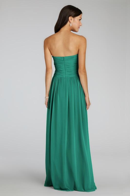 "Donna Morgan's ""Audrey"" in Emerald. Available in Charleston through Bella Bridesmaids."