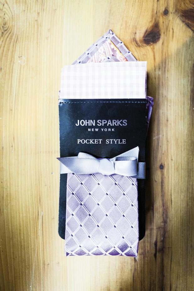 STYLE FILE: The couple bought mix-and-match lavender ties and pocket squares for their ushers.