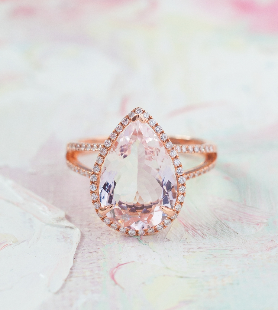 14K rose gold ring with 4.53 ct. morganite center and diamonds  (.33 total cts.) from Diamonds Direct, $3,500. Artwork by Natalie Taylor Humphrey