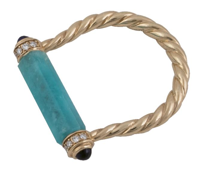 "David Yurman's  18K gold, amazonite, sapphire, and diamond ""Barrels"" ring from REEDS Jewelers ($1,500)"