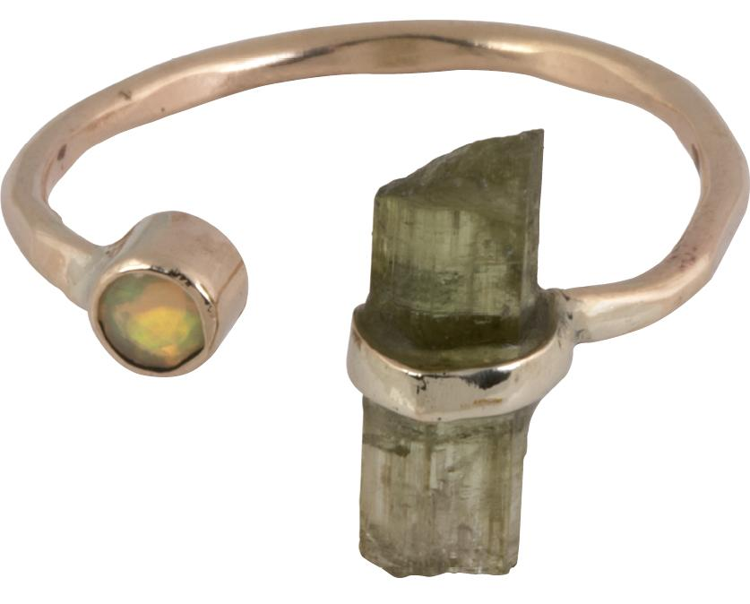 14K gold, tourmaline, and opal ring from Kate Davis ($180)