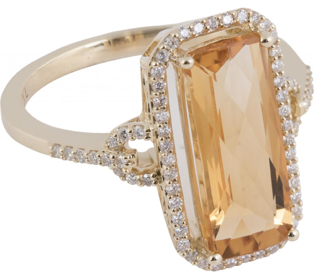 14K gold, citrine (4 cts.), and diamond (.24 total cts.) ring from Polly's Fine Jewelry ($1,395)