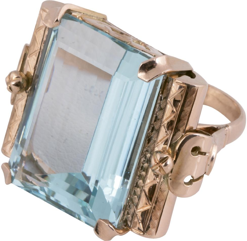 14K rose gold and aquamarine (18 cts.) ring from Joint Venture Estate Jewelers ($2,400)