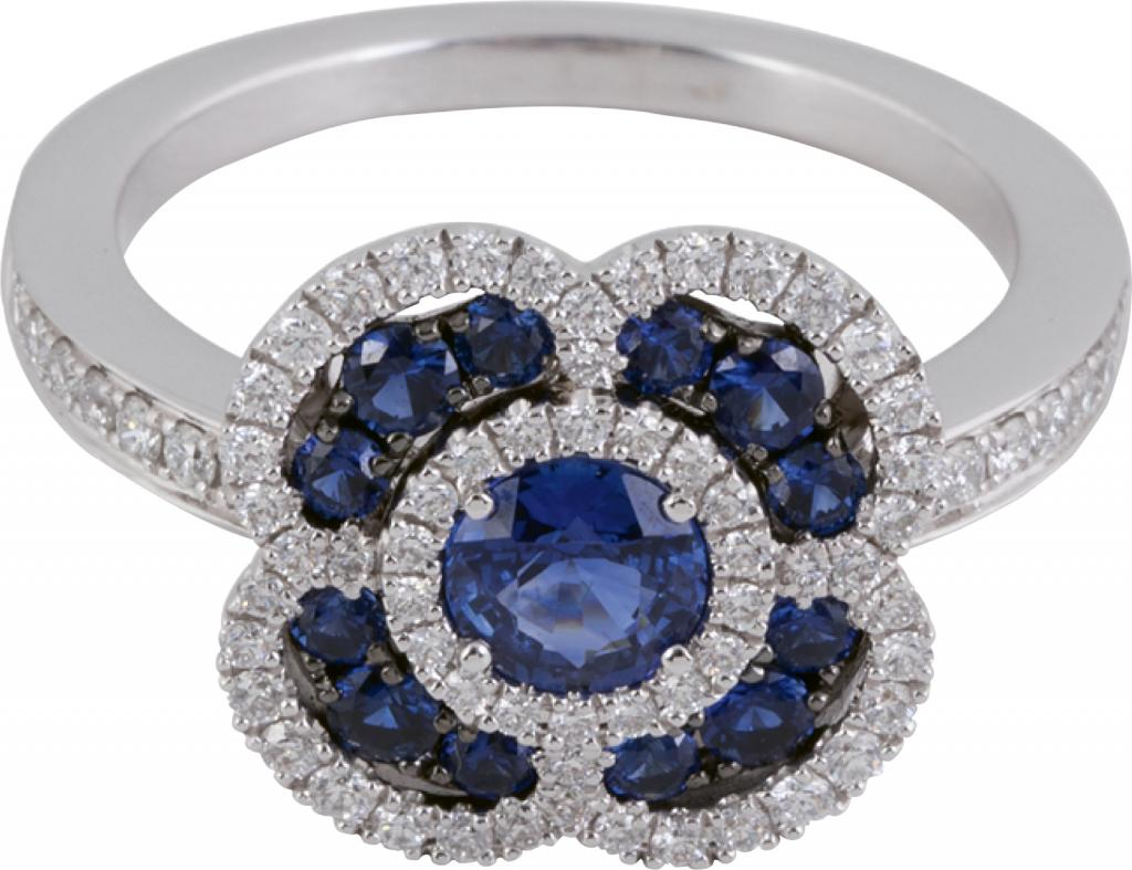 14K white gold, sapphire, and diamond ring from Diamonds Direct (price upon request)
