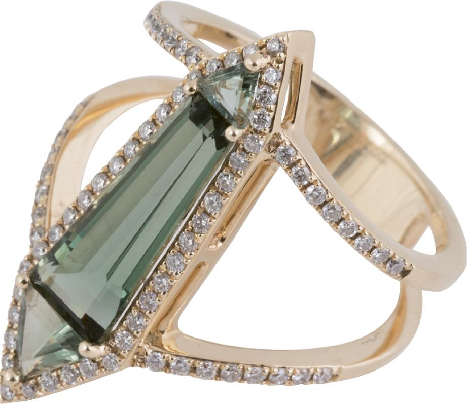 14K gold, hydro corundum, green amethyst, and diamond ring from Gold Creations ($2,400)