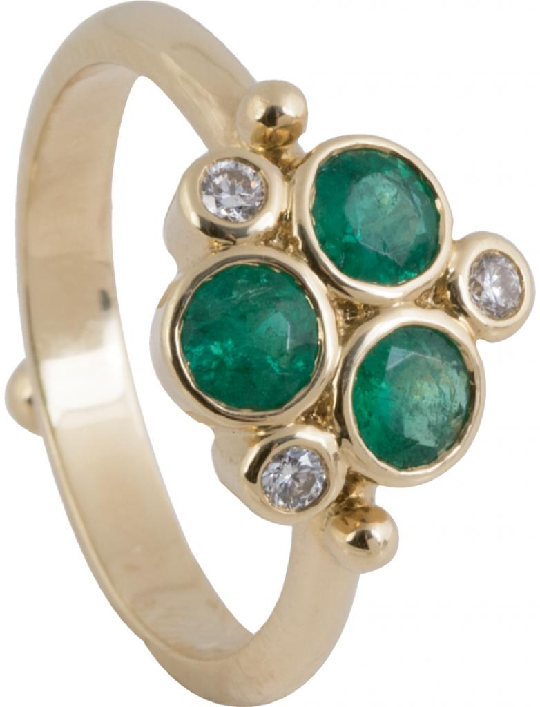 Temple St Clair's 18K gold, emerald (.96 total cts.), and diamond ring from Croghan's Jewel Box ($2,950)