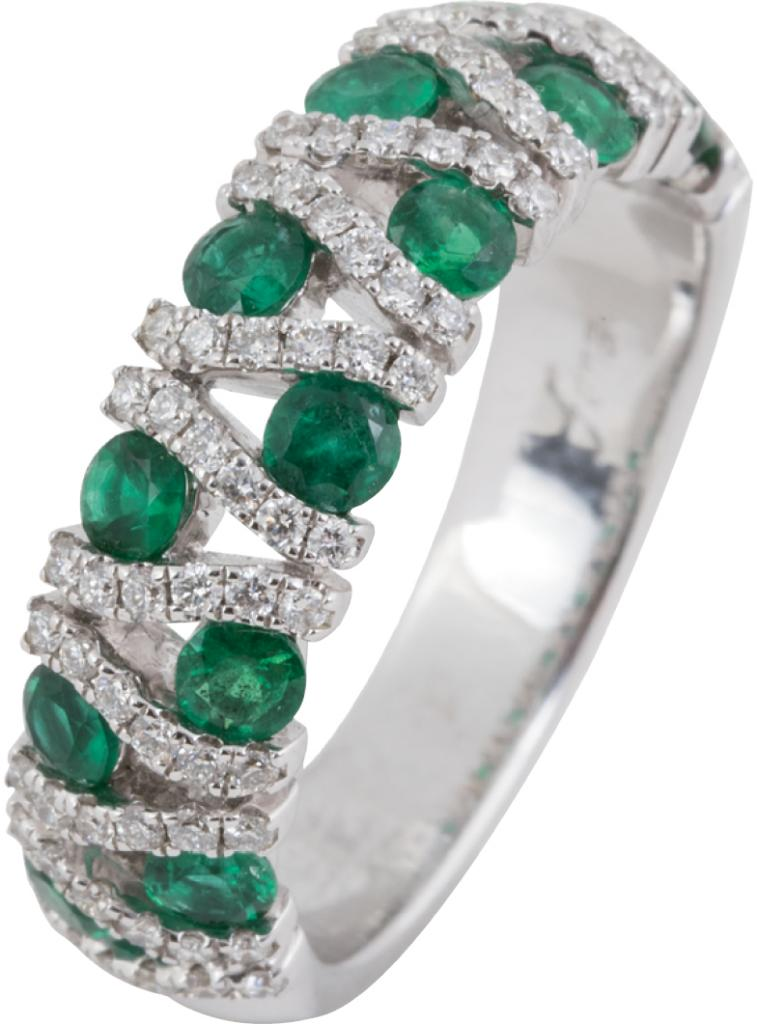 14K white gold, emerald, and diamond band from Diamonds Direct (price upon request)