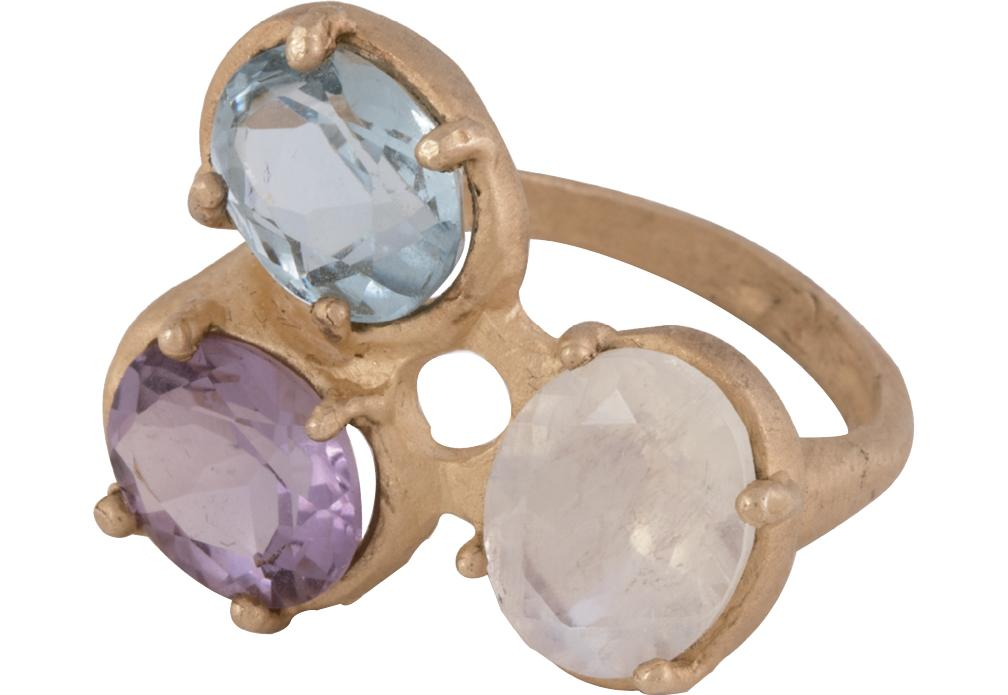14K gold, moonstone, blue topaz, and  amethyst ring from Jane Pope ($1,778)