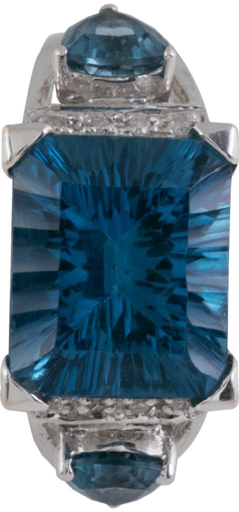 14K white gold, blue topaz, and diamond ring from Sandler's Diamonds & Time ($989)