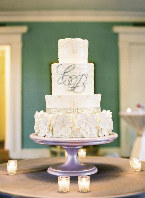 FRESH COAT: To keep the dessert form Wedding Cakes by Jim Smeal traditional (i.e. white), Melissa stayed true to the days' color scheme by placing it atop a metallic lavender cake stand.